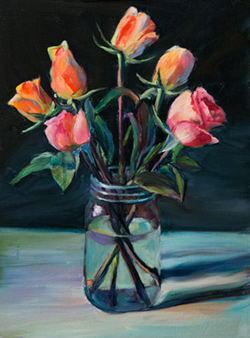 Seven dollars for flowers plus the mason jar gave me something to paint for a couple days. 12 x 16 oil on board