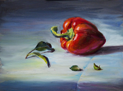 Red pepper and salal leaves on a white table cloth. 9 x 12 oil on board