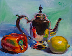 Brass teapot and some vegetables. It's fun to make this stuff shiny. 9 x 12 oil on board