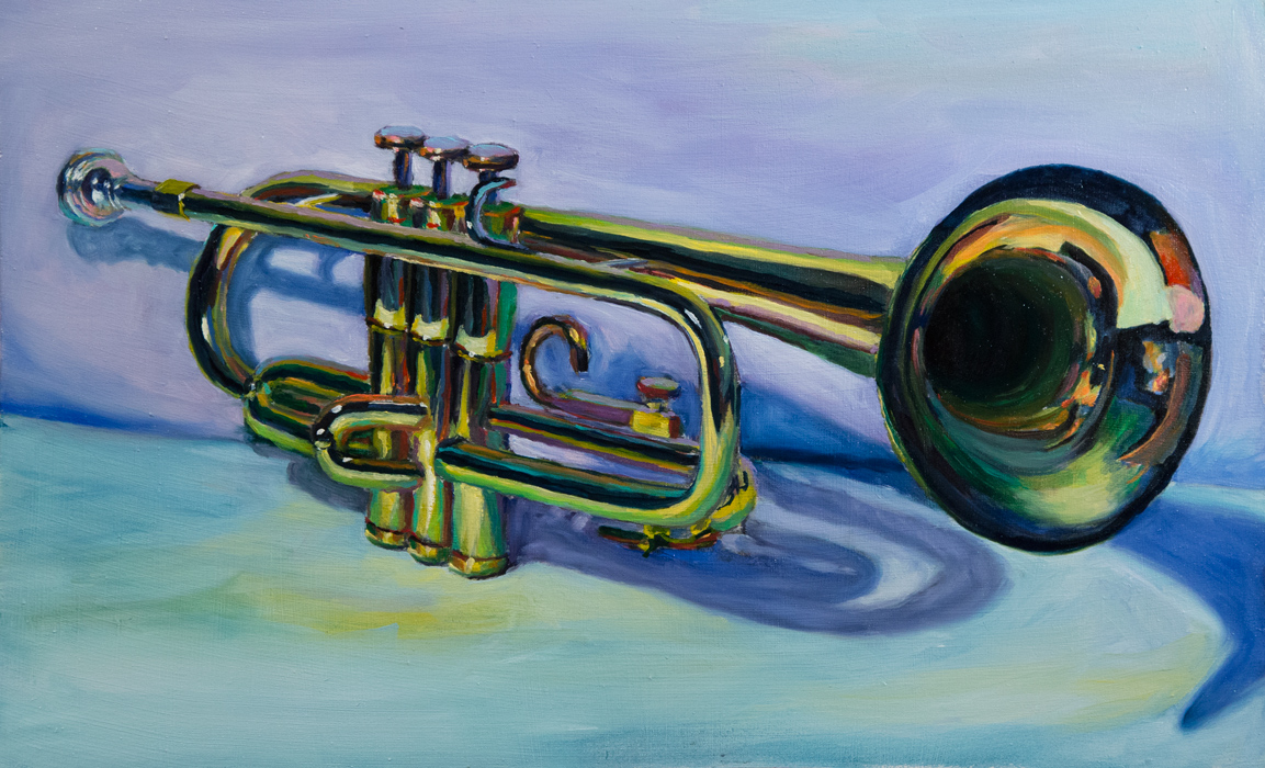 Trumpet, oil on board 11 x 16