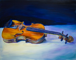Violin painting. Kristi played this at a jam session. It sounded so lovely I had to paint it.